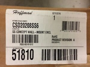 New Hoffman Csd20208ss6 Nema 4x Enclosure 316l Stainless Steel Wall Mount Type