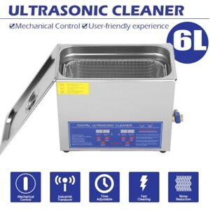 New Stainless Steel 6 L Liter Industry Heated Ultrasonic Cleaner Heater W timer