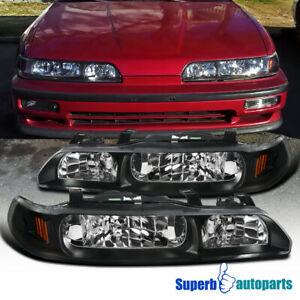 For 90 93 Acura Integra 1 Piece Style Headlights Black Replacement Left right