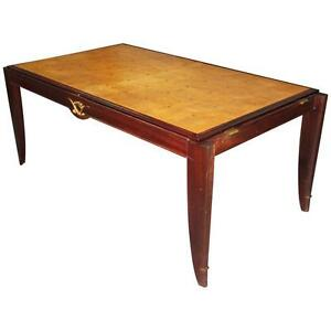French Art Deco Sycamore With Mahogany Dining Table Circa 1940s As Is