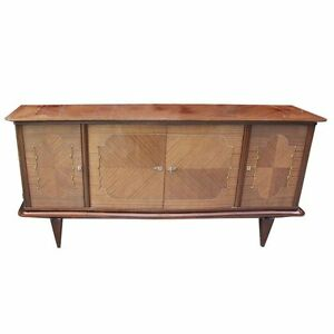 1940s Vintage French Art Deco Sideboard Buffet Light Mahogany As Is
