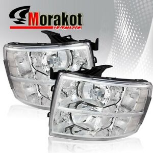 For 07 13 Chevy Silverado Chrome Housing Headlights Clear Lens reflector Lamps