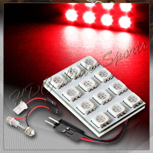 Universal T10 Festoon 12 Smd Led Interior Dome Map Light Bulb Panel Red