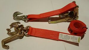 8 Red Rtj Cluster Hook Ratchet Straps Car Hauler Tow Flatbed Trailer Tie Down