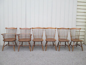 58690 Set 6 Ethan Allen Solid Maple Dining Chairs Chair S 10 6032 A
