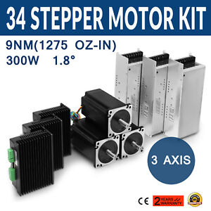 3axis Nema 34 Stepper Motor Dual Shaft 1275oz 3 5a Cnc Kit