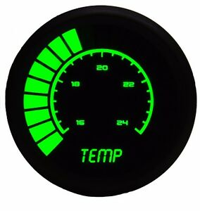 2 1 16 Universal Analog Water Temperature Gauge Green Leds Black Bezel Us Made