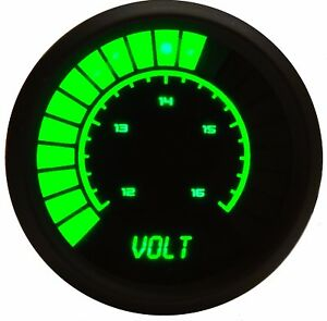 Led Analog Bargraph Voltmeter In Green Leds With Black Bezel 52mm 2 1 16 In 52mm