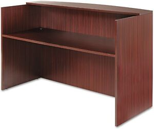 Receptionist Front Desk Workstation Reception Counter Wood Mahogany Brown Finish