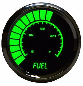 2 1 16 Universal Analog Fuel Gauge Green Leds Chrome Bezel 52mm Made In The Usa