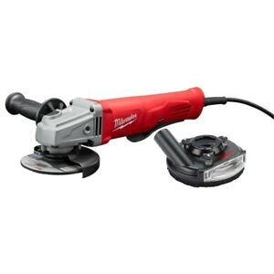 Milwaukee 6142 31s 4 1 2 In Small Angle Grinder With Shroud Paddle With Lock on