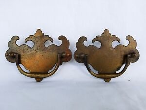 4 Pair Vintage Brass Chippendale Drawer Pulls Furniture Hardware Reclaimed