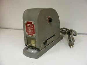 Vintage Heavy Duty Office Bates 56 Stapler Fully Automatic Electric Works 2833k