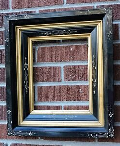 Antique Victorian Eastlake Ebony Black Incised Accents Frame 8 X 10 C 1870s