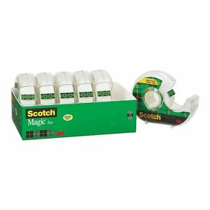 Scotch Magic Tape With Refillable Dispenser 3 4 X 850 6 Rolls New