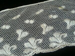 Antique French Trim Lace Dolls Salvage Sewing Teddy Bears Wide Remnant Scrap 13