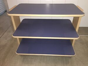 3 Tier Rolling Shelf Display Table Blue Tan Laminate Retail Store Fixture