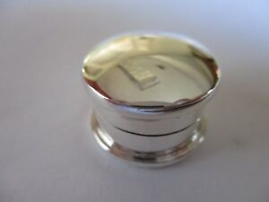 Sterling Silver Pill Box Round Shape Grooved 925 Solid Silver 3 4 Inch Long
