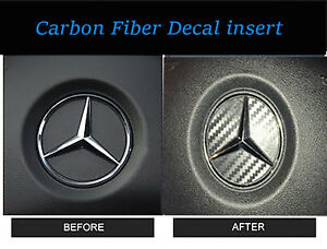 2 Steering Wheel Center Logo Carbon Fiber Insert Sticker Mercedes Benz 2015 2018