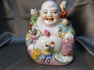 Large Antique Chinese Famille Rose Hand Paint Porcelain Buddha Statue W Children
