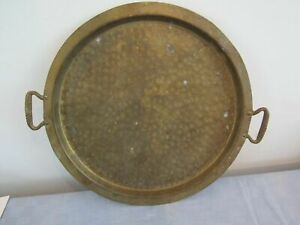 Hammered Brass Serving Tray 13 5 Unmarked