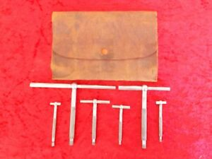 Vintage The L s starrett Co No 229 Telescoping Gages Set Of 6 With Pouch