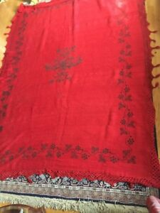 Antique Early American Handmade Red Wool Embroidered Blanket 1700s