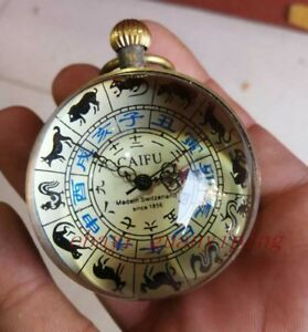 Old Zodiac Mechanical Crystal Spherical Clock