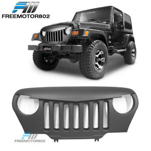 Fits 97 06 Jeep Wrangler Tj Utility 2dr V1 Angry Bird Style Front Bumper Grille