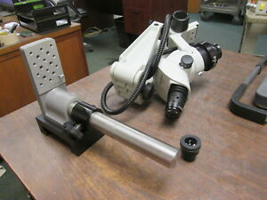 Olympus Trinocular Stereo Microscope W Articulated Boom Arm Base Sz61 Used
