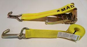 4 Yellow J Hook Ratchet Straps Car Hauler Tow Flatbed Trailer Tie Down Wh Shorts