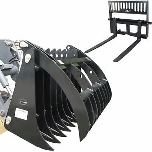 Titan Attachments 72 Grapple Rake 42 Pallet Fork Skid Steer Bobcat Kubota
