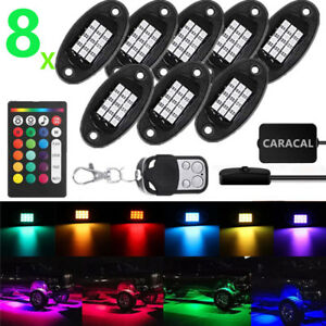 8pc Waterproof Rock Crawler Led Lighting Kit For 4x4 Off Road Jeep With Switch