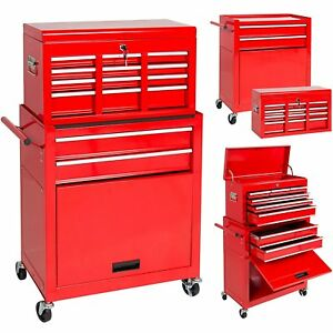 Portable Top Chest Rolling Tool Storage Box Cabinet Sliding Drawers