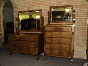 Antique Quarter Sawn Oak Dresser Chest Of Drawers W Mirrors