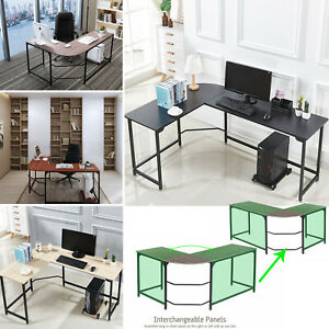 L shaped Corner Computer Gaming Desk Wood Steel Laptop Table Workstation Office