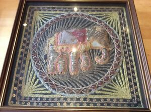 Vintage Indian Embroidery Work Elephant Sequins Glass Beads Sequins