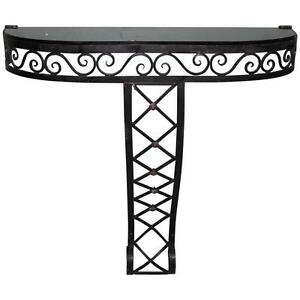 French Art Deco Black Iron Console Circa 1940s As Is