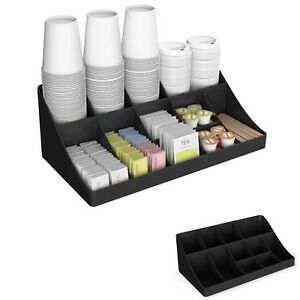 Coffee Condiment Organizer Station Tea Cups Holder Rack Break Room Office Tray
