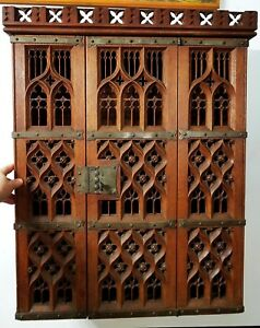 Finest Quality Antique Gothic Hanging Wall Cabinet English Oak All Original
