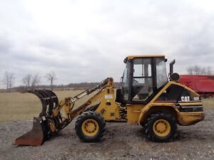 2004 Caterpillar 908 Wheel Loader Cab heat Demo Grapple bucket forks