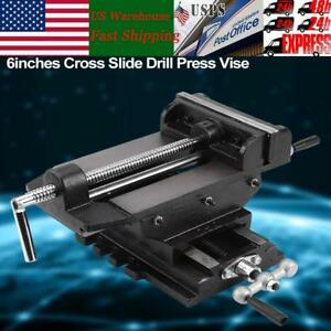 6 Cross Slide Drill Press Vise Metal Milling Vice Holder Clamping Bench Mount