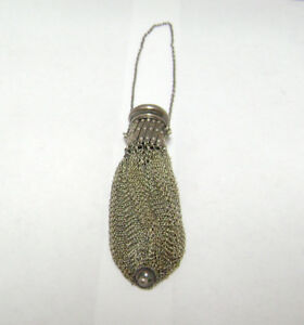 Sterling Silver Antique Vintage Coin Mesh Purse Dn
