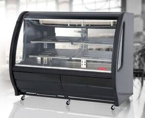 New Black 74 Curved Glass Deli Bakery Display Case Refrigerated Casters Tor Rey