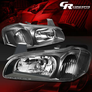 Black Housing Clear Side Euro Style Headlight Headlamps For 00 01 Nissan Maxima