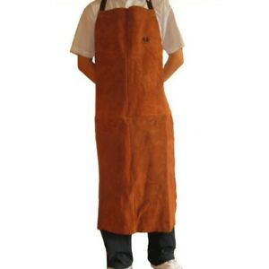 Welding Apron Long Split Leather Heat Insulation Bib Soldering Safety Workwear