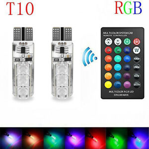 2 Car Led Bulbs Atmosphere Light T10 5050 6smd Rgb With Remote Controller Strobe