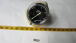 Vintage Stewart Warner Tachometer With Curved Convex Glass Right Angle Drive 3