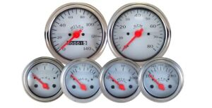Veethree 6719 Silver 6 Gauge Kit With Mechanical Speedometer