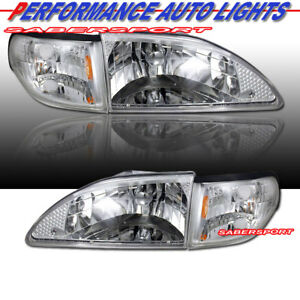 Set Of Euro Clear Headlights W Corner Lights For 1994 1998 Ford Mustang